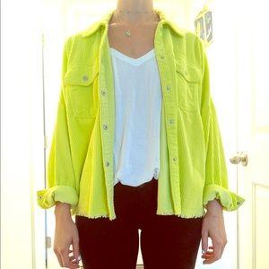 Neon green oversized cord jacket